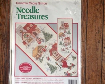 Vintage New in Package Needle Treasures Counted Cross Stitch Christmas Village Bellpull Kit