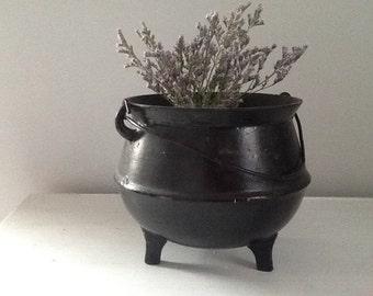 Cast Iron Pot, Cast Iron Planter, Rustic Metal Pot, Black Iron Pot, Footed Metal Pot