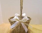 Gold Flower Girl Basket - Gold Wicker Basket - White Satin Bows - Wedding Ready - Wedding Decor
