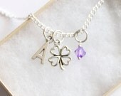 Clover Necklace Silver Plated, Personalized Initial Necklace, Birthstone Acrylic Color, Dainty Necklace, Lucky Shamrock Necklace, Good Luck