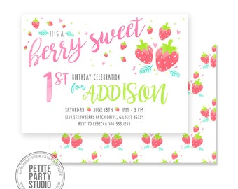 Strawberry Berry Sweet Printable Party Invitation | Birthday or Baby Shower | Petite Party Studio