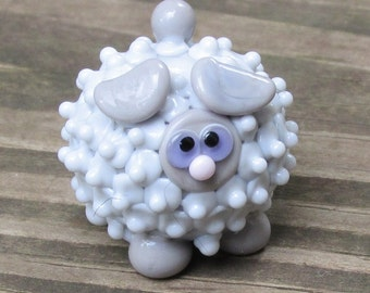 Double Grey Sheep Lamb Ewe Lampwork Handmade SRA OOAK Glass Bead NLC Beads leteam