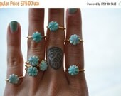 VALENTINES SALE Dainty Daisy /// Stackable Turquoise Electroformed Ring /// Gold
