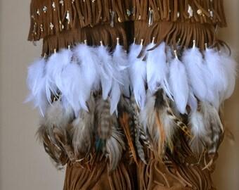 XMAS IN JULY Size 7 /// Nahimana Mystic /// Upcycled Embellished Vintage Moccasin Fringe Boot