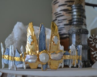 REVIVAL COLLECTION  /// Blue Moon Crown /// Gold dipped /// Bull Feather Pearl Tiara