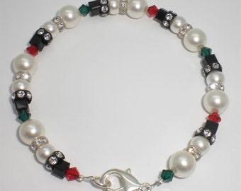 Christmas Snowman Holiday Swarovski Crystal Bracelet