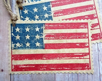 Americana Flag Gift Tags July 4th Summer Celebrations