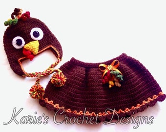 Turkey (2) piece set / Hat w Braided Pompom Earflaps and Skirt / Chocolate Brown / Fall Colors / Handmade