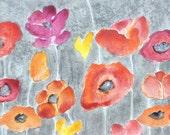 "FLOWER painting ORIGINAl POPPY flowers painting -8""x24"" orange yellow red flowers by devikasart on Etsy"