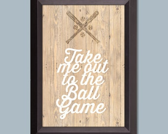 "Take Me Out to the Ball Game art print for boy's room, 5x7"", 8x10"" or 11x14"", baseball art for bedroom"