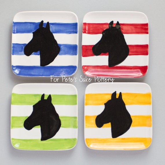 Derby theme plate, at the races plate, Horse racing plate, horse silhouette plate, equestrian themed appetizer plate