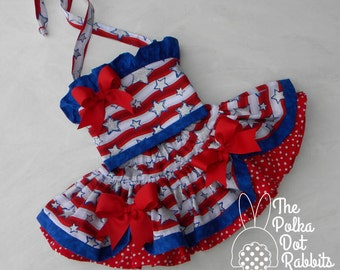 Toddler-Girls Star Spangled Pageant-Party Dress, 2 Tier Skirt-Halter, Red White and Blue Sparkle, size 12 18 and 24 month, 2T 3T 4 5 6 and 8