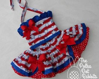 Toddler-Girls Stars & Stripes Patriotic Pageant-Party Dress, Tutu Skirt- Ruffle Halter, Red-White-Blue w/ Sparkle Stars, sizes 12 mo. thru 8