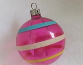 Fall Sale Vintage Christmas ornament unsilvered ornament WWII ornament pink ornament blue white and yellow striped ornament