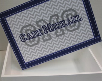 Boy Personalized Monogram Keepsake Box-Gray and Purple