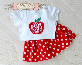 Back to School Outfit, Apple Outfit, Apple Twirl Skirt, Toddler Girls Skirt, Vinyl Monogram Outfit, Toddler Girls Outfit, Personalized Shirt