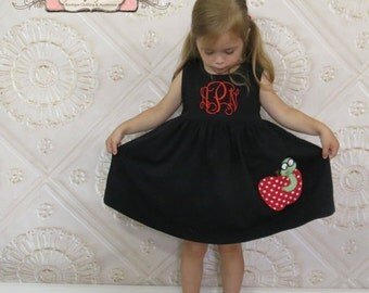 SALE, Back to School Dress, Appliqued Dress, Embroidered Dress, Monogrammed Dress, Toddler Dress, Summer Dress, Sundress