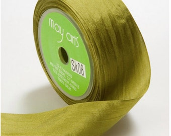 3 yds OLIVE Silk Ribbon 1.25 inches wide   cheswickcompany
