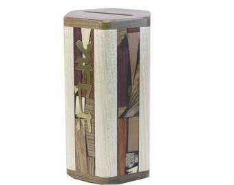 Tzedakah Box - Jewish Wedding Gift -  6 Mosaic Wood Panels -  No Stains or Dyes Used -  Charity Box for the Home