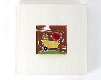 "Red Bird & Yellow Wheelbarrow ceramic wall hanging 4""x4"""