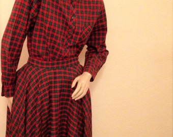50's Ship n'Shore Red Plaid Shirt and Full Circle Skirt Size 7 XS
