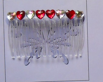 Red Crystal Hearts Comb, Rhinestone Hair Comb