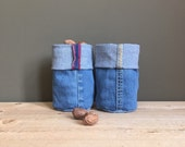 blue denim bucket - fabric containers - shelf storage - fabric basket - fabric storage box - basket - lego container