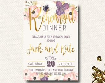 Rehearsal Dinner Invite Boho Chic Invitation Floral Gold Eggplant Purple