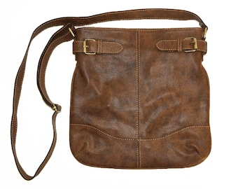 Anthic Distressed Brown Genuine Leather Messenger Bag Vidal // Leather Cross-body Bag
