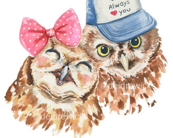 Owl Watercolor - 5x7 PRINT, Baby Owl, Nursery Art, Animal Illustration, Owl with a Hat, Love, Romance