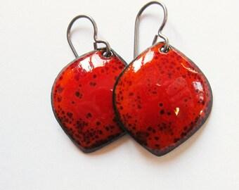 Colorful enamel bohemian jewelry Red orange leaf drop earrings Niobium wires Lightweight petal dangle earrings