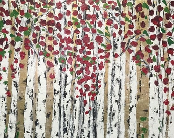 Aspen Birch Trees Abstract autumn Silver Birch Acrylic Extra Painting  48 w x 30 h x 1.75  Gallery Wrapped Canvas Free Shipping in US