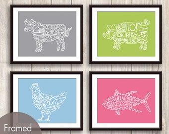 Geometric Butcher Diagrams Series B Cow, Pig, Chicken and Tuna Fish  - Set of 4 Art Prints (Featured in Dolphin, Apple Pie, Icing, Rouge)