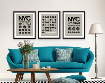 NYC Brooklyn - NYC Stops - TIMES Sq (The Traveling Type Series) - Unframed Art Print (featured in Brown Grey)