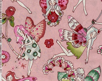 Alexander Henry flower fairies pink fabric FQ or more