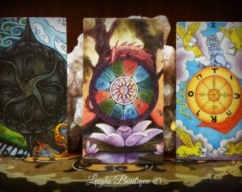 Wheel Of Fortune Tarot Magnet Set of 3; First Series; Fantastical Tarot, Crystal Visions Tarot and Universal Waite Tarot