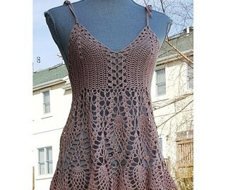 Crochet Cotton Lace Top / Cameo Rose Color / Size S / One of A Kind / Ready to Ship
