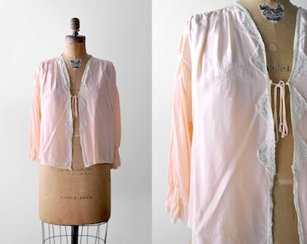 30's pink blouse. bed jacket. 1930's loungewear. peach top. large. 30 lace blouse. l