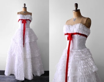 50's white ball gown. 1950's lace dress. red bow. full. organza. 50 wedding dress. lace. m. s.