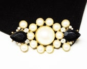 Richieleu Black & White Brooch - Faux Pearl Beads and Black Faceted Rhinestones - 1970's 1980's Costume Jewelry