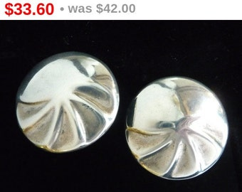 Sterling Silver Modernist Earrings for Pierced Ears - Large Vintage Round Design - Stud Style Posts Signed Mexico 925