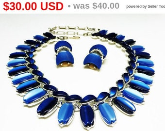 Blue Lucite Necklace Earring Set - Signed Lisner Thermal Demi Parure Vintage Mid Century Modern Jewelry