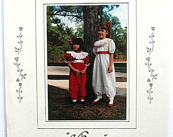 RARE Vintage 80's Victoria's Originals Jumpsuit with Smocked Collar V'anne Sewing Pattern UNCUT Available in Sizes 2-3-4 OR 8-10-12
