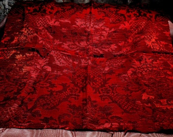 Vintage Fabric Remnant Silk Embellishments Blood Red Steampunk