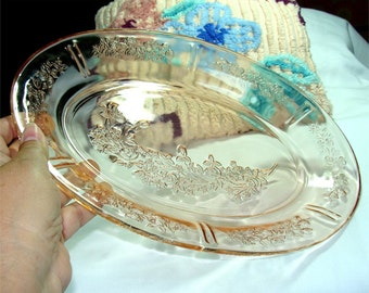 1935 Pink DEPRESSION Glass Sharon PLATTER aka Cabbage ROSE