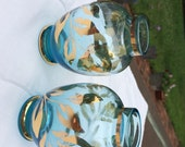 Aqua Glass Vases Set of 2 Glass Bud Vases Wedding Vases EPP & Co New York Made in Italy Paul's Gifts Shabby Chic Beach Cottage Pretty Glass