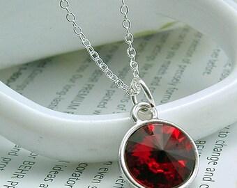 Jewelry, Red Necklace, Red Swarovski Rivoli Necklace, Red Jewelry, Red Crystal Necklace, Candy Red Necklace