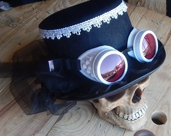 Ladies Black Steampunk TOP HAT with Contrasting Lace Trim, Net Veil, and Matching Detachable Goggles
