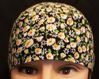 Black Chemo Cap or Skull Cap w White and Yellow Flowers, Hair Loss, Bald, Alopicha, Helmet liner, Surgical Cap, Do Rag, Hats, Head Wrap