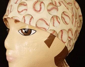 Handmade Tan Skull Cap w Baseballs, Hats, Chemo Cap, Baseball, Biker, Helmet Liner, Head Wrap, motorcycle, hair loss, surgical, Handmade